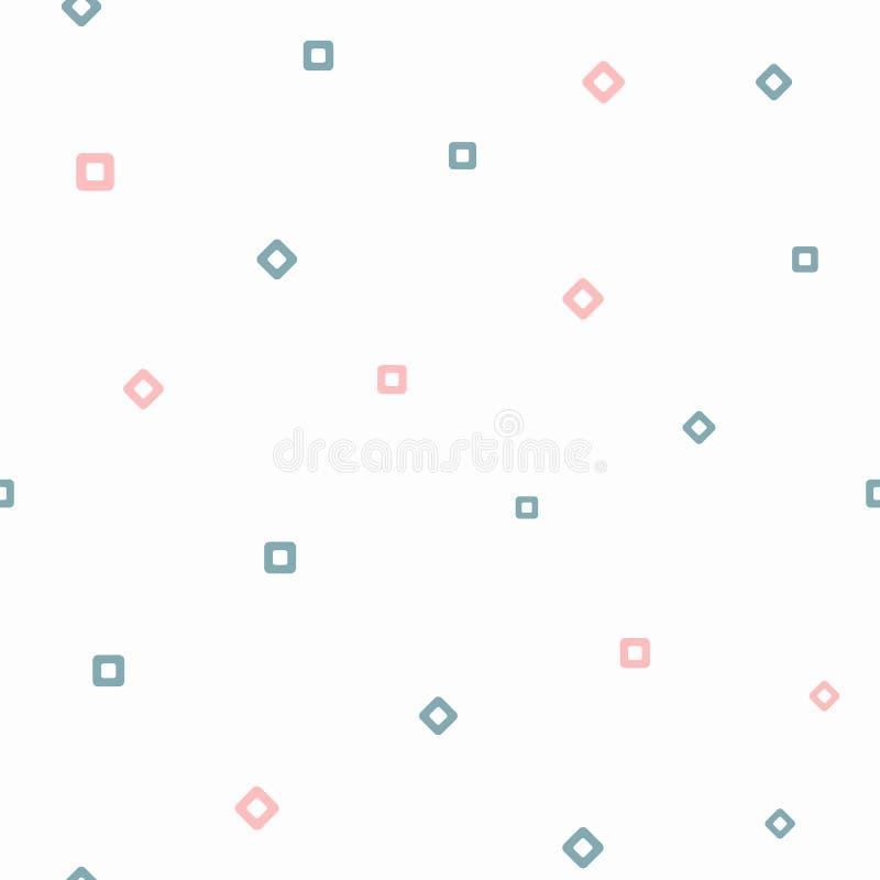 Upprepa fyrkanter och romber Enkel geometrisk sömlös modell Flickaktigt tryck Vit blått, rosa färger royaltyfri illustrationer