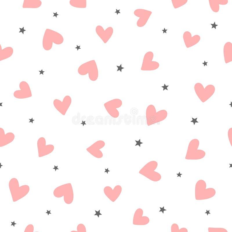 Upprepa hjärtor och stjärnor som dras av handen gullig seamless modellromantiker vektor illustrationer