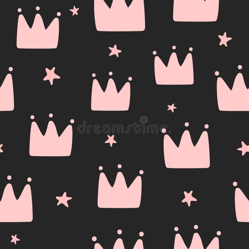 Upprepa kronor och stjärnor som dras av handen Enkel sömlös modell för små prinsessor vektor illustrationer