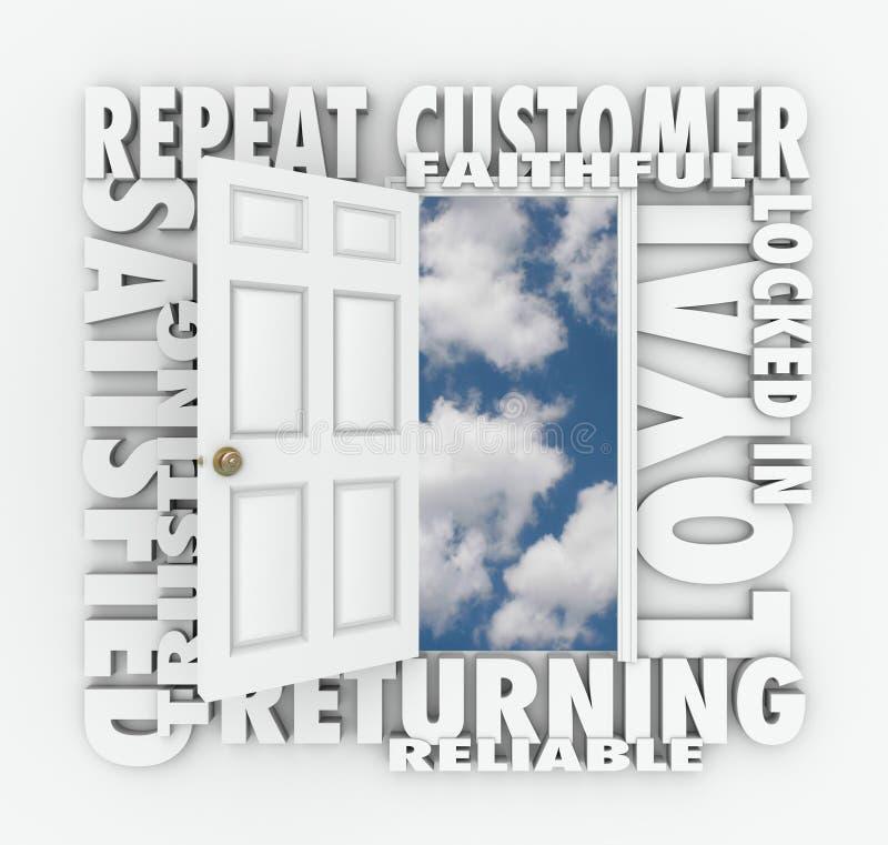 Upprepa Loyal Satisfied Customer Open Door den pålitliga klienten stock illustrationer