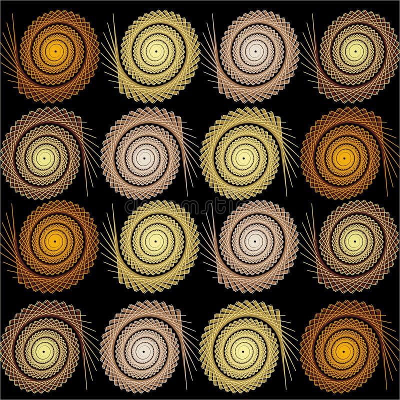 Upprepa modellen av runda beståndsdelar på en svart bakgrund stock illustrationer