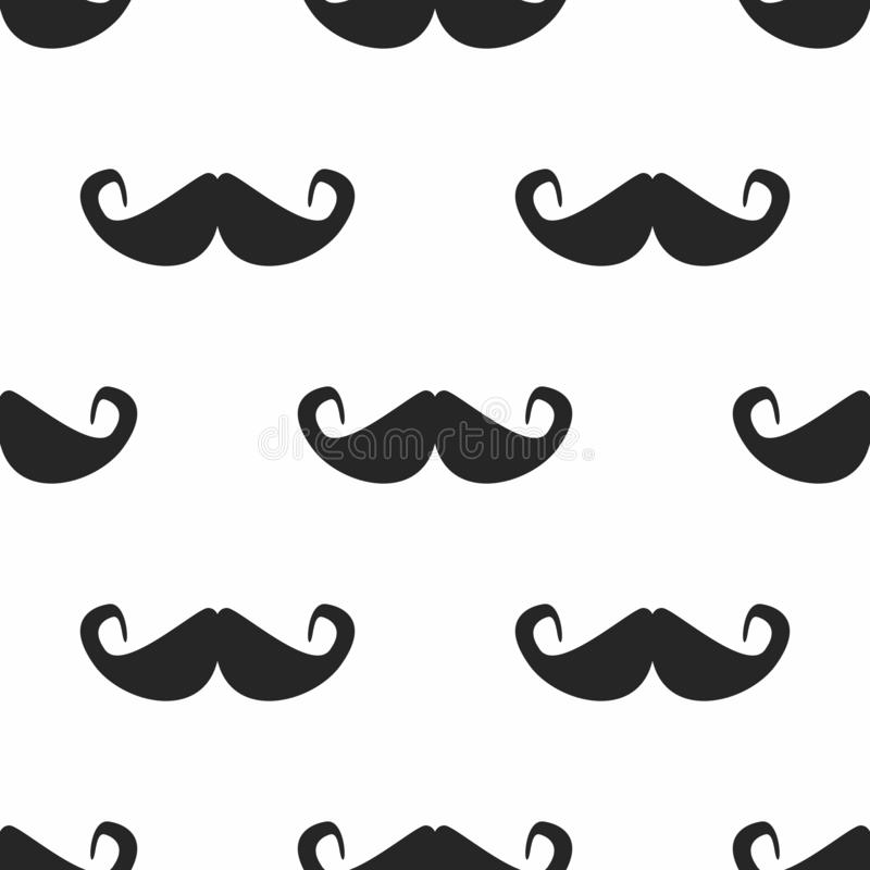 Upprepa mustaschkonturer Enkla seamless mönstrar stock illustrationer