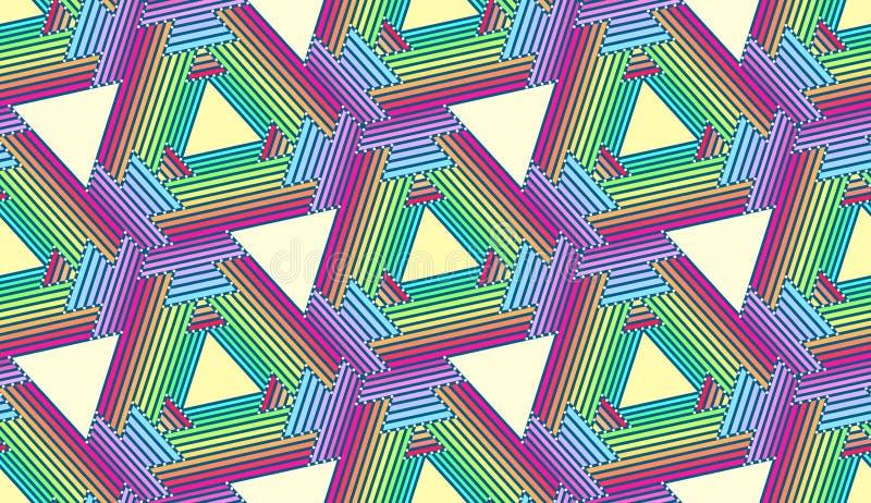 Upprepa regnbågetrianglar - Tileable bakgrund royaltyfri bild