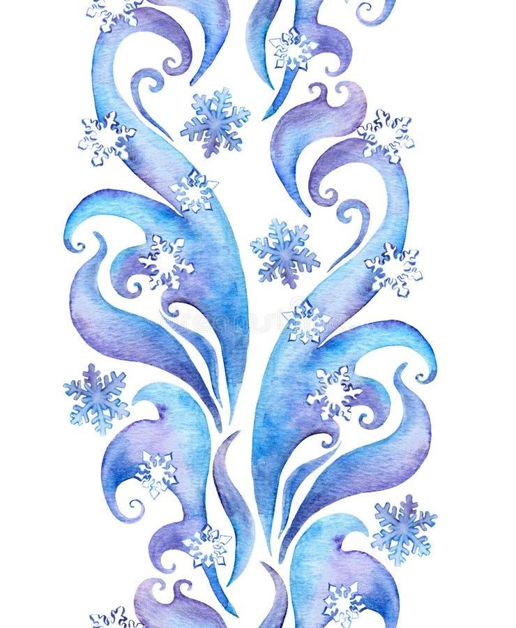 Upprepa vintergränsramen, dekorativt band för vattenfärg stock illustrationer