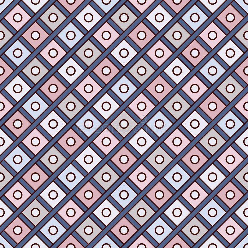 Upprepad diamantbakgrund Geometriskt motiv Sömlös yttersidamodelldesign med fyrkantprydnaden för pastellfärgade färger royaltyfri illustrationer