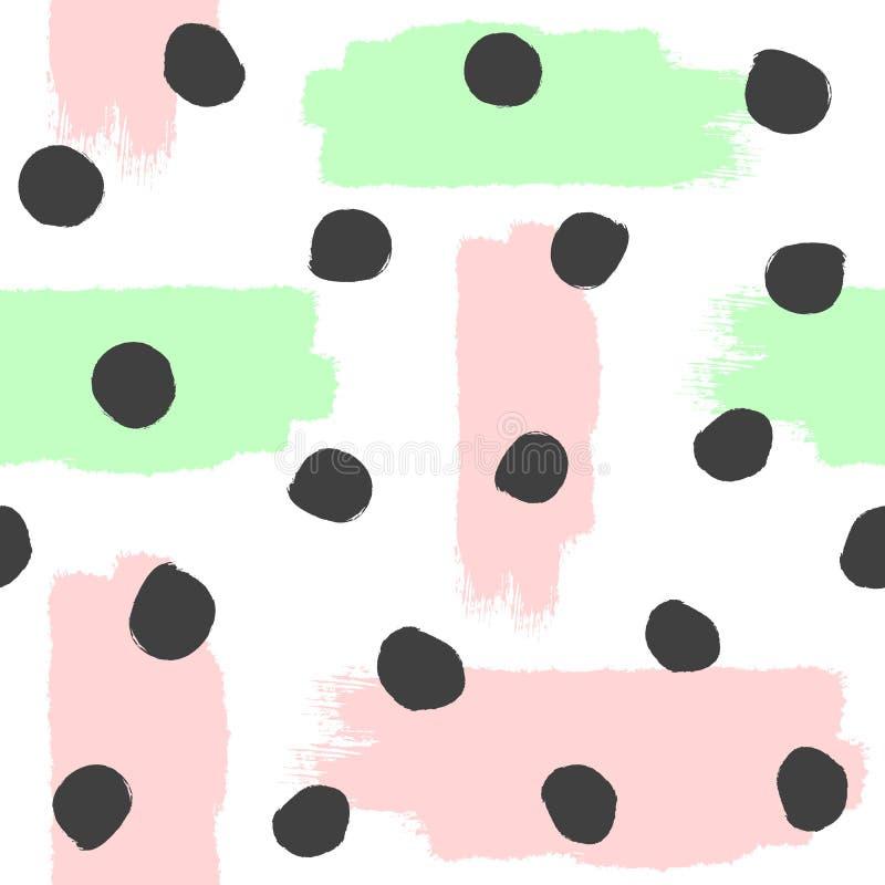 Upprepade borsteslaglängder och runda fläckar Seamless modell för abstrakt vattenfärg Grunge skissar, målar Vitt rosa, grönt, sva royaltyfri illustrationer