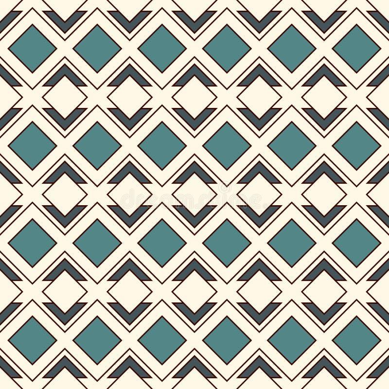 Upprepade diamanter och linjer bakgrund etnisk wallpaper Sömlös yttersidamodelldesign med rombprydnaden royaltyfri illustrationer