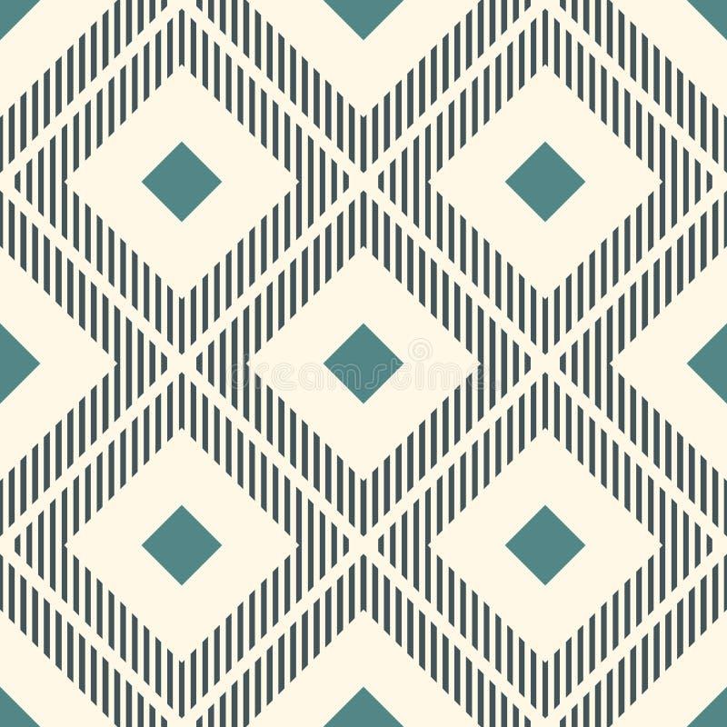 Upprepade diamanter och luckalinjer Ikat tapet Sömlös yttersidamodell med infödd design Etniskt dekorativt motiv vektor illustrationer