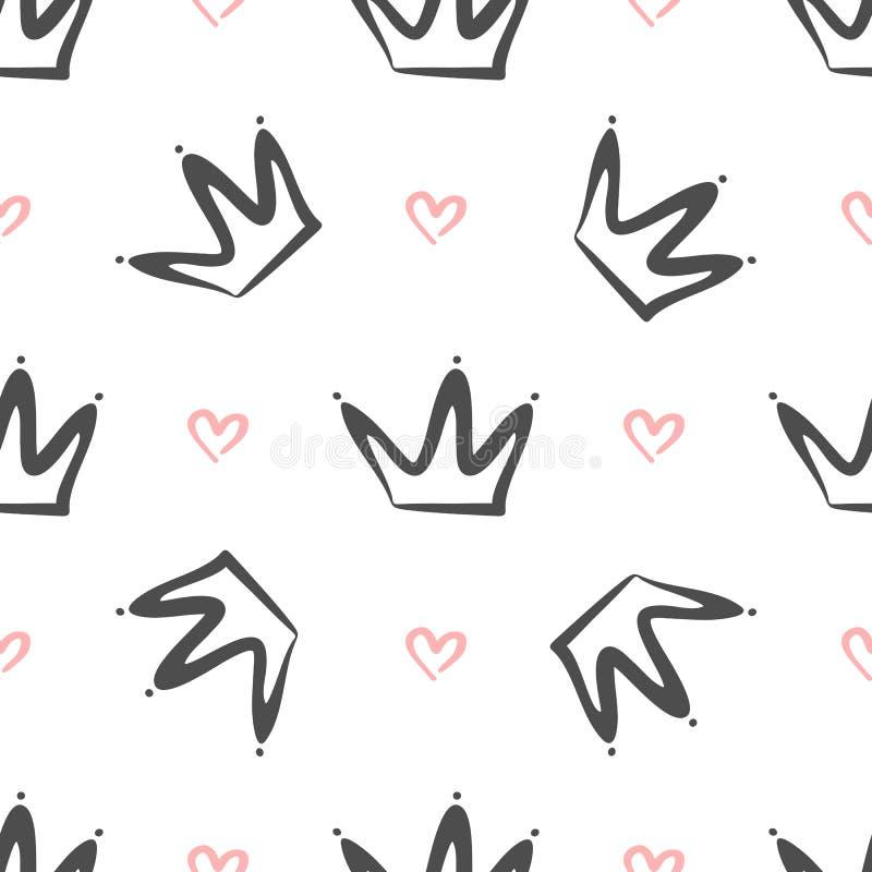 Upprepade kronor och hjärtor som dras av handen Enkla seamless mönstrar Skissa, klottra, klottra vektor illustrationer
