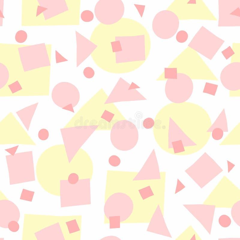 Upprepade ojämna geometriska former Enkel flickaktigt sömlös modell med ojämna cirklar, trianglar och fyrkanter royaltyfri illustrationer