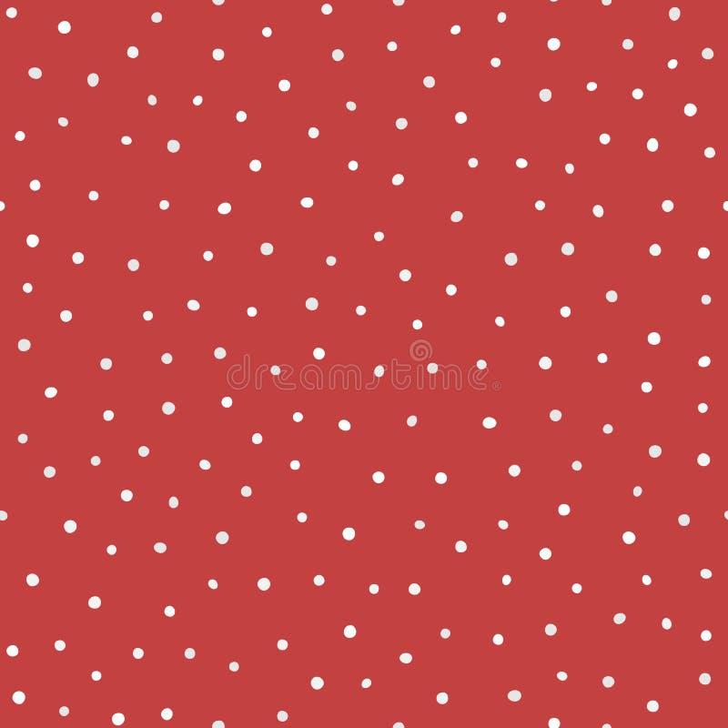Upprepade vit och grå färger rundade prickar på röd bakgrund seamless moderiktigt för modell vektor illustrationer