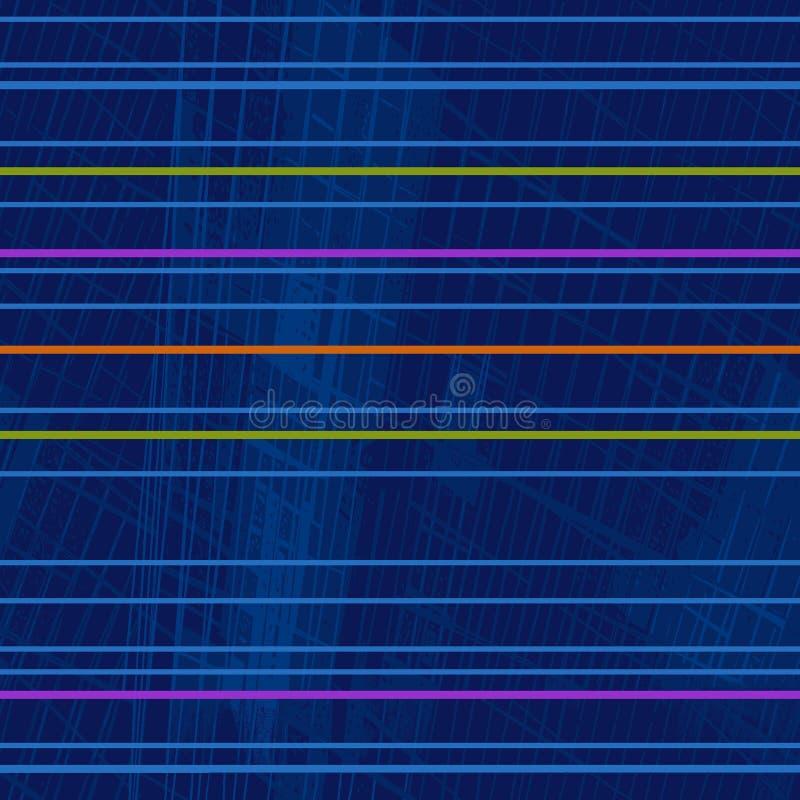 Upprepande geometrisk modell av ljusa fluorescerande horisontalband royaltyfri illustrationer