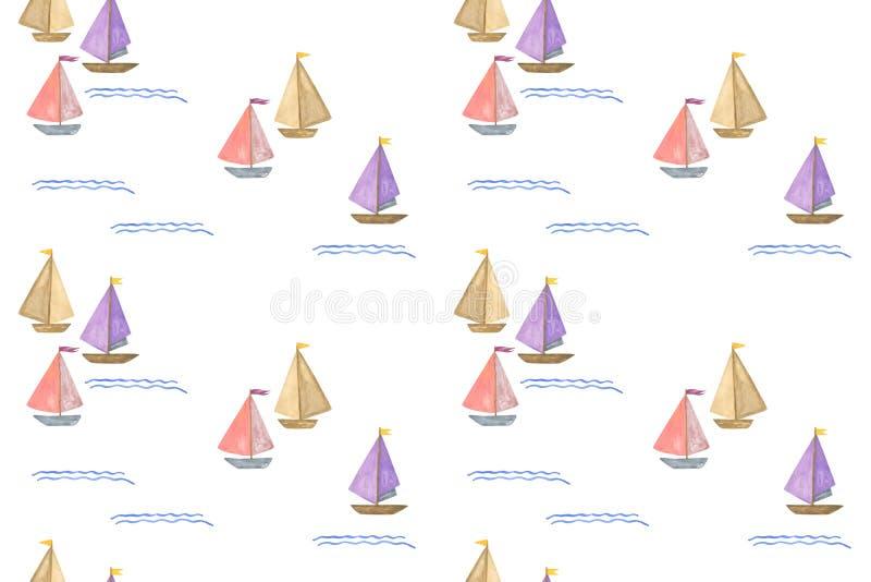 Upprepningsmönster för yachter, vattenfärgsritad regatta vattenfärgsillustration på den vita bakgrunden stock illustrationer