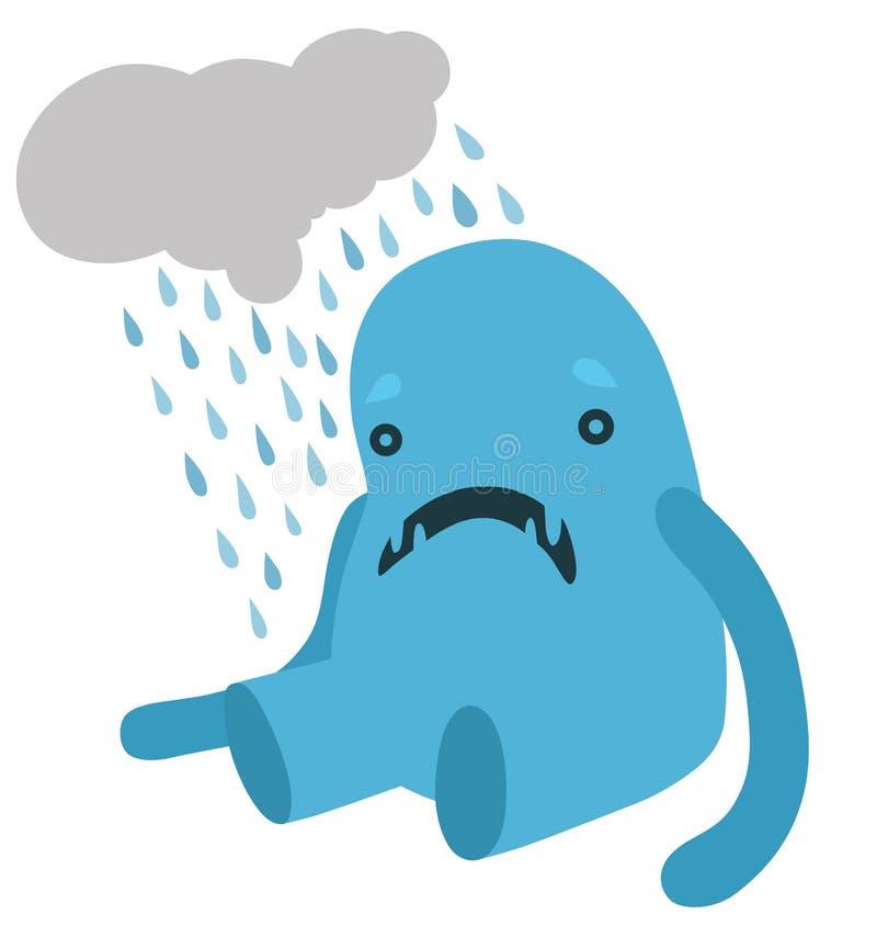 Upprivet blått monster med ett regnigt moln stock illustrationer