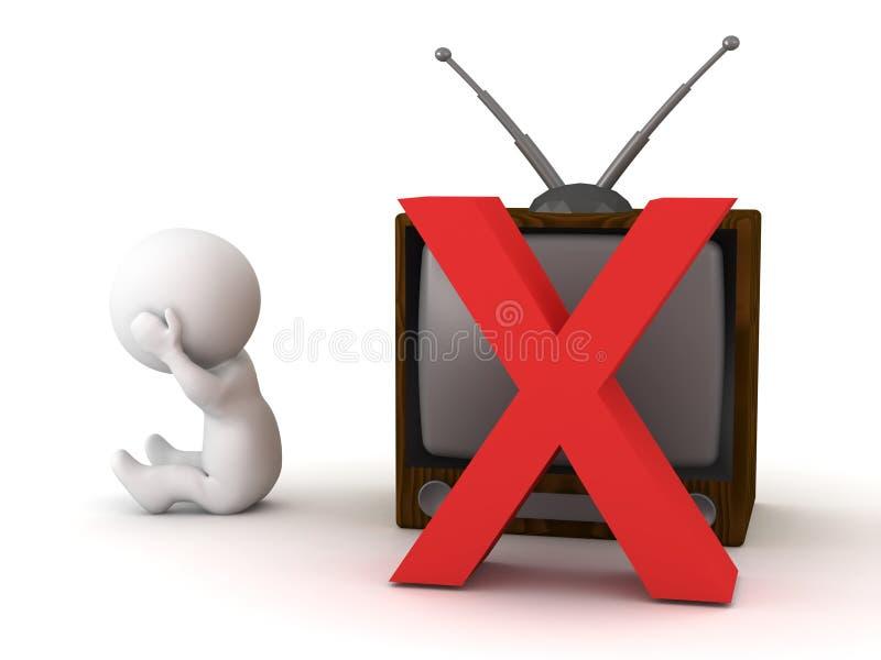 Upprivet tecken 3D och ingen Retro TV stock illustrationer