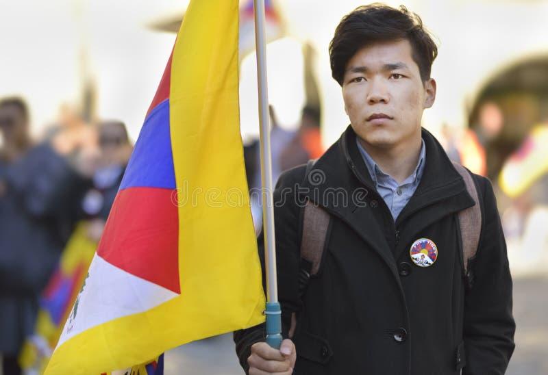 10 upprordag 2017 för mars i Tibet, Bern switzerland arkivbilder
