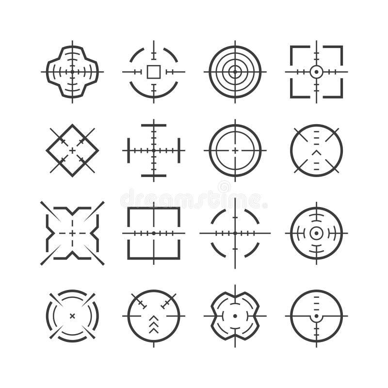 Uppsätta som mål att sikta Bullseye för avsikt för markör för vapen för krig för exakthet för mitt för sikt för fokus  royaltyfri illustrationer