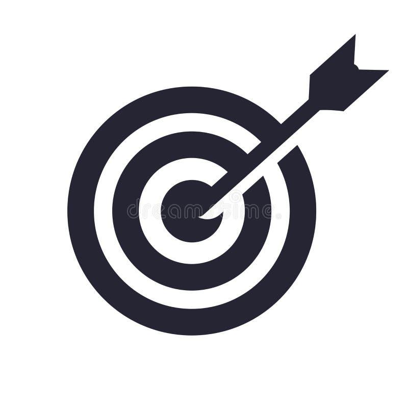 Uppsätta som mål det symbolsvektortecknet och symbolet som isoleras på vit bakgrund, mållogobegrepp vektor illustrationer