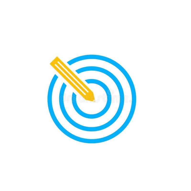 Uppsätta som mål det symbolsvektortecknet och symbolet som isoleras på vit bakgrund, mållogobegrepp stock illustrationer