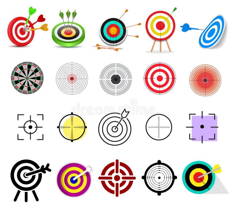 Uppsätta som mål symbolsvektorpilen i syfte av darttavlan, och målet av uppsättningen för illustrationen för framgångaffärsstrate stock illustrationer