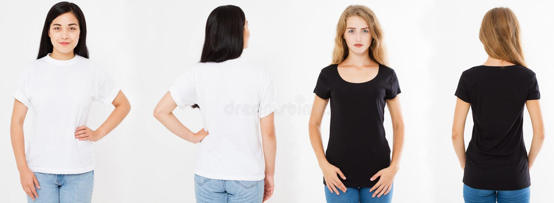 Uppsättning, asiatisk koreansk kvinna för collage och caucasian kvinna i den vita och svarta t-skjortan, t-skjorta för framdelbak royaltyfri bild