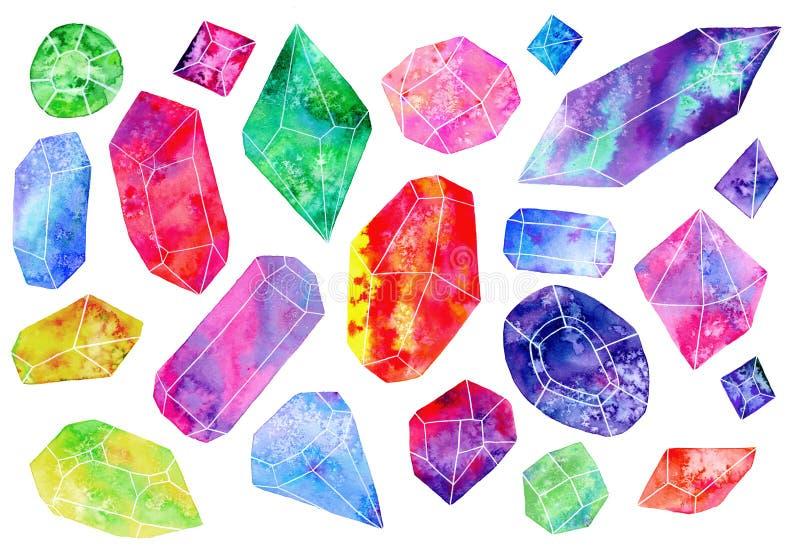 Uppsättning av ädelstenar eller kristaller för flygillustration för näbb dekorativ bild dess paper stycksvalavattenfärg stock illustrationer