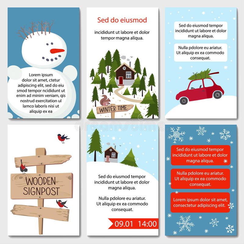 Uppsättning av 6 älskvärda vinterkortmallar vektor illustrationer