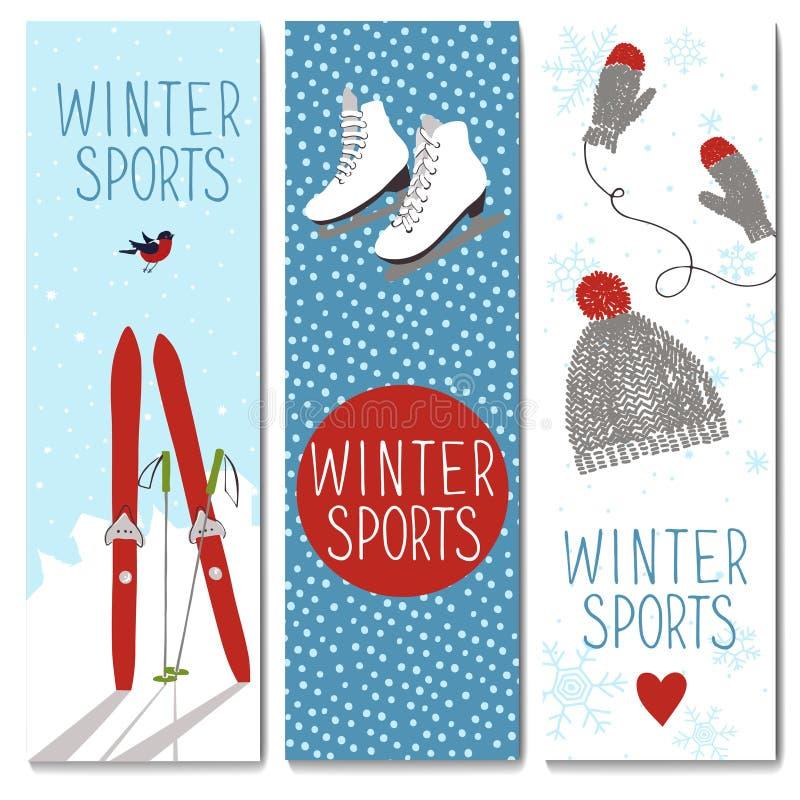Uppsättning av 3 älskvärda vinterkortmallar vektor illustrationer