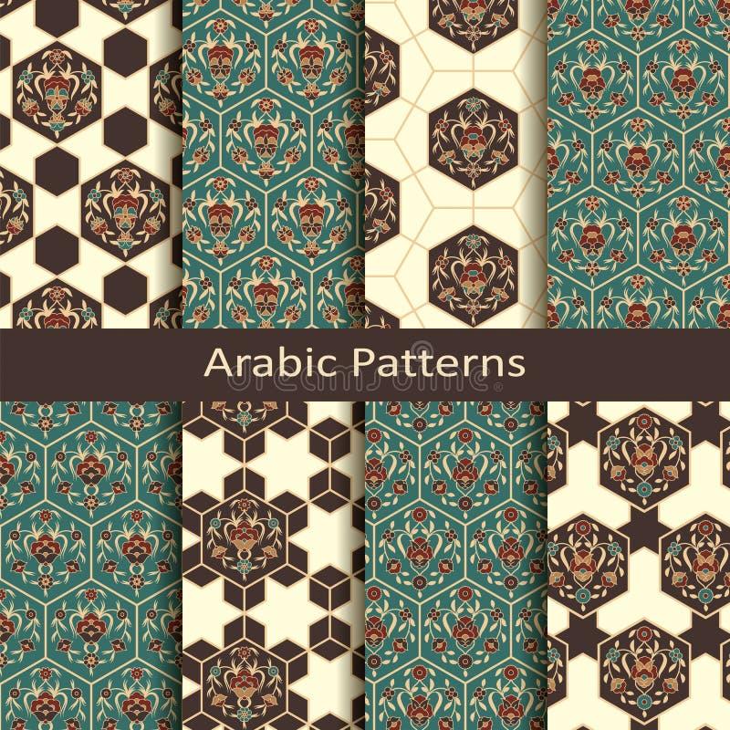 Uppsättning av åtta arabiska traditionella geometriska modeller för sömlös vektor design för räkningar, textil som förpackar stock illustrationer