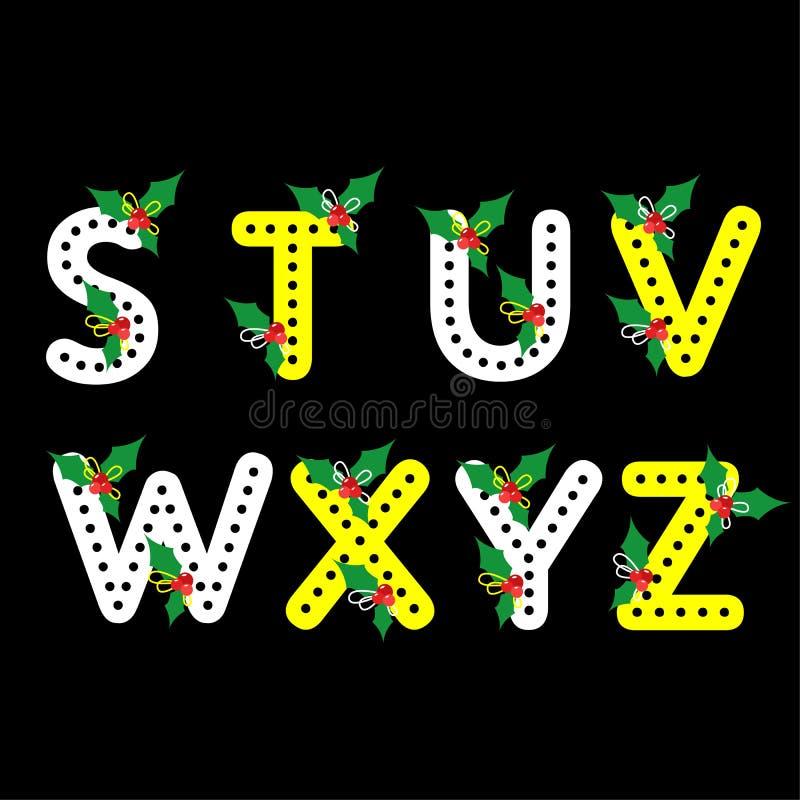 Uppsättning av åtta bokstäver, bokstavslägenhetdesign för juldag stock illustrationer