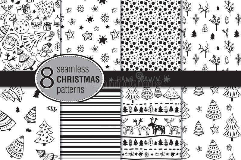 Uppsättning av åtta sömlös hand drog julmodeller vektor illustrationer
