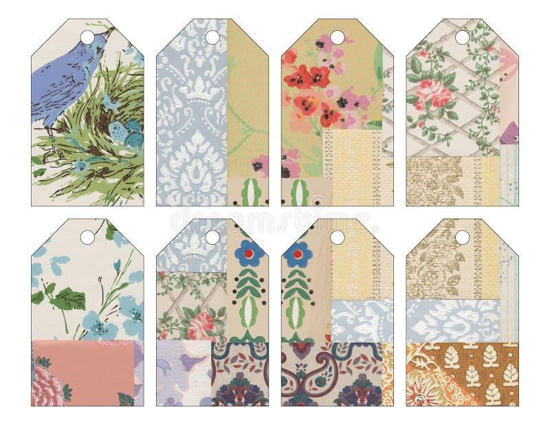 Uppsättning av åtta 8 sjaskig chic grungy collaged etiketter för tappning tapet royaltyfri illustrationer
