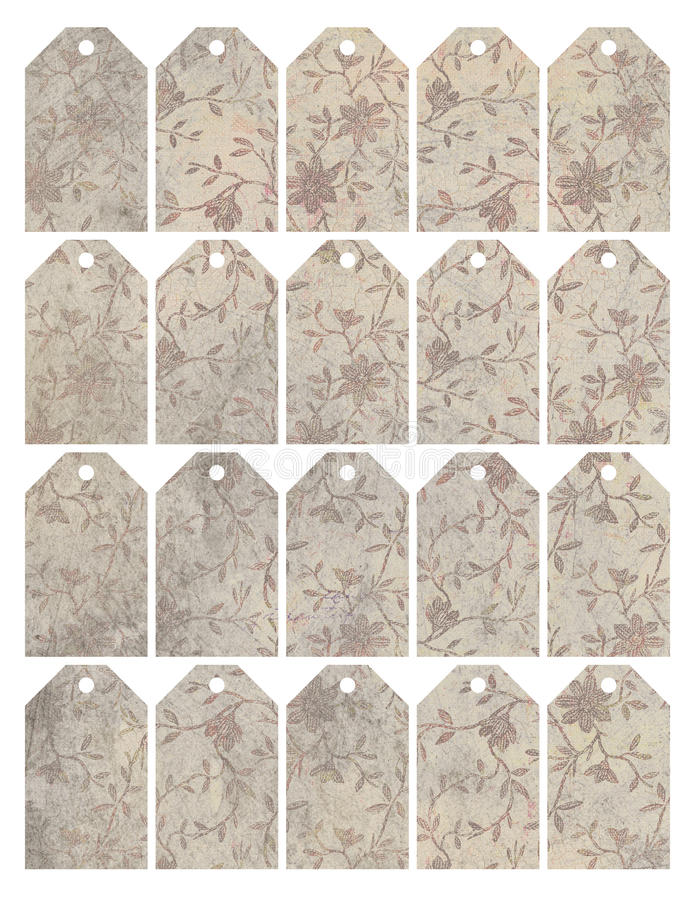 Uppsättning av åtta sjaskiga chic grungy blom- etiketter royaltyfri illustrationer