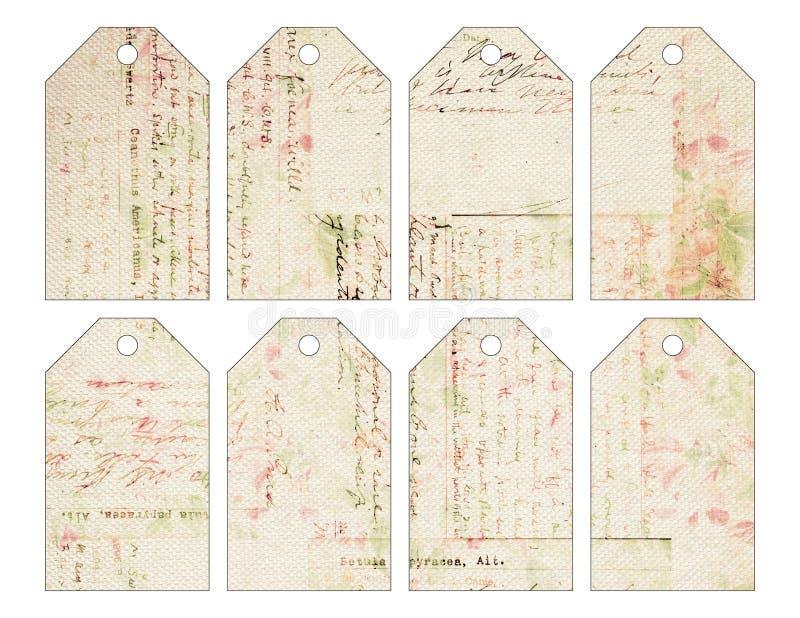 Uppsättning av åtta sjaskiga chic grungy tappningjuletiketter med antik handskrift stock illustrationer