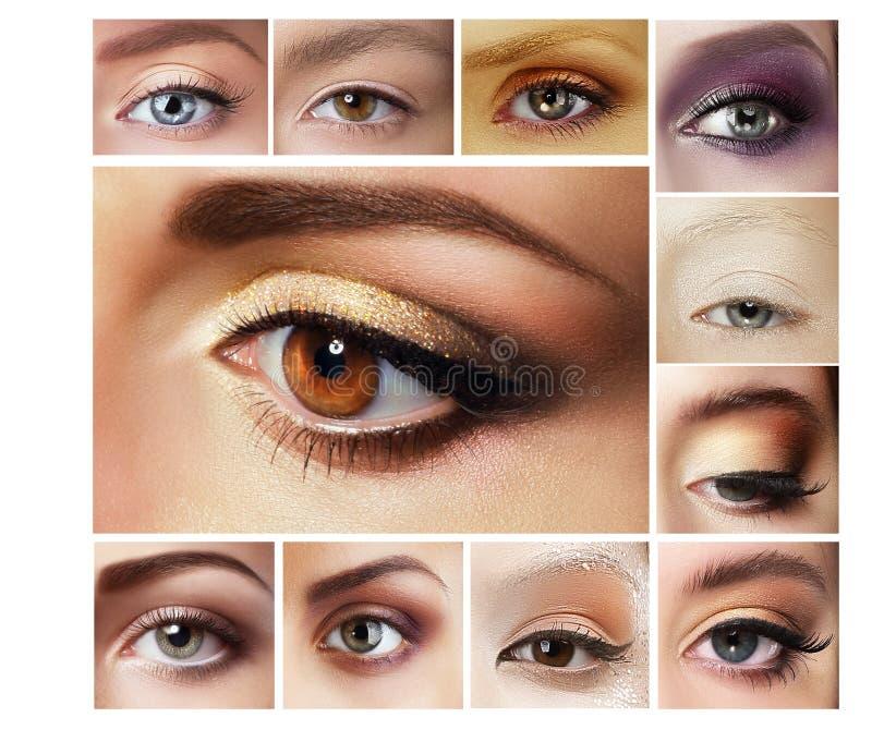 Uppsättning av ögonskugga mascara Blandning av kvinnors ögon royaltyfri foto