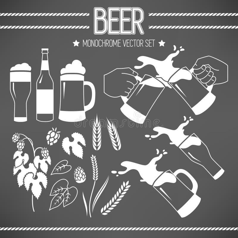 Uppsättning av öl stock illustrationer