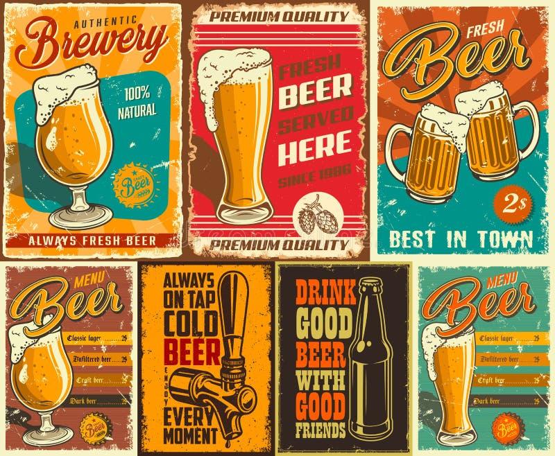 Uppsättning av ölaffischen stock illustrationer