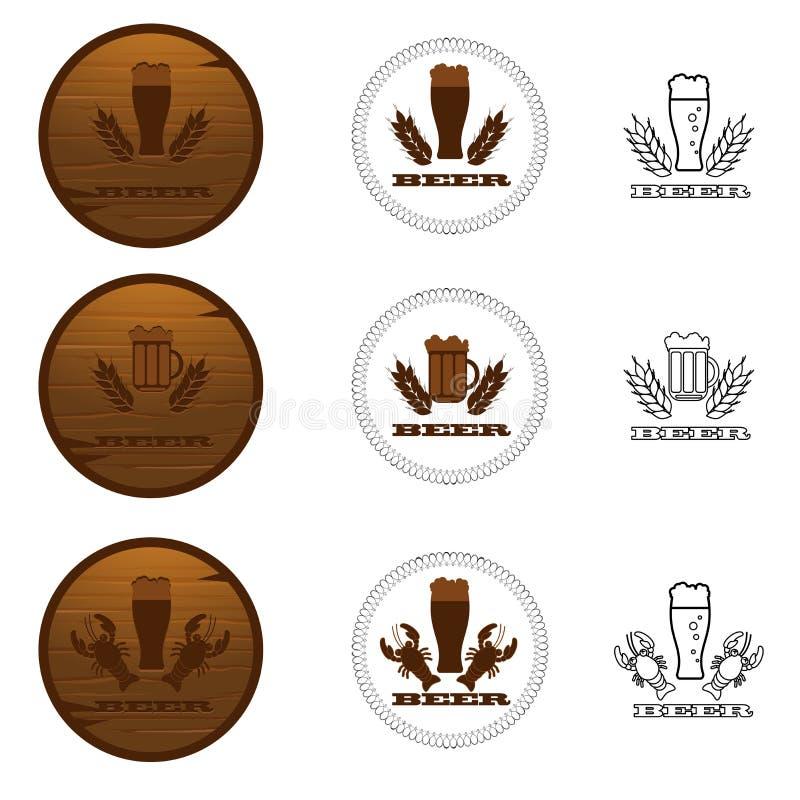 Uppsättning av ölemblem, etiketter, logoer i brun färg stock illustrationer