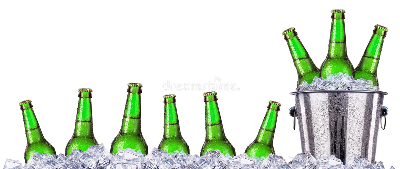 Uppsättning av öls flaskor med frostiga droppar i is royaltyfri fotografi