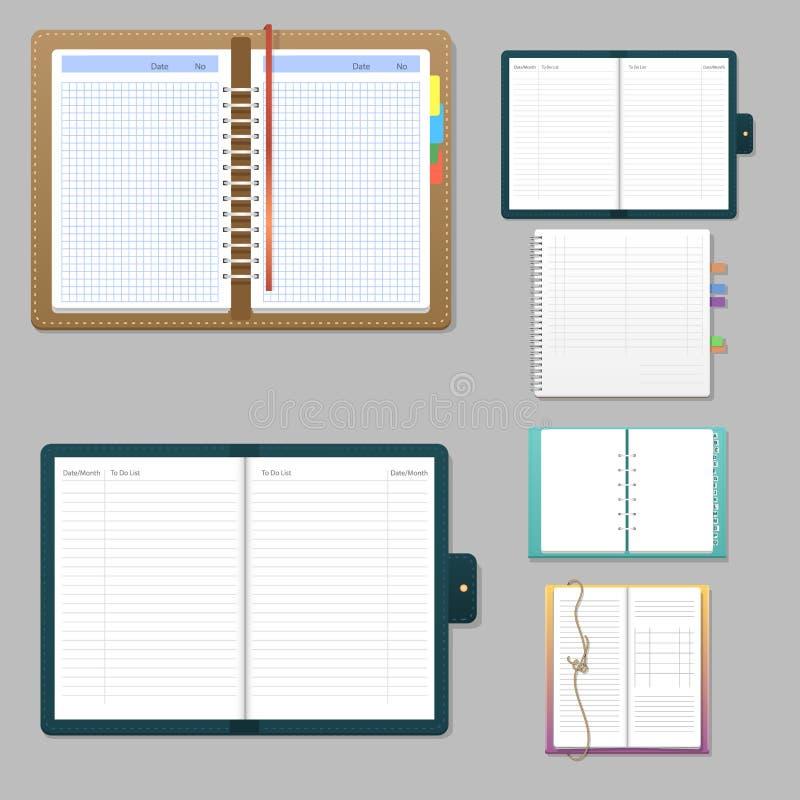 Uppsättning av öppna realistiska anteckningsböcker med förskriftsboken för utbildning för häfte för mall för ark för sidadagbokko royaltyfri illustrationer