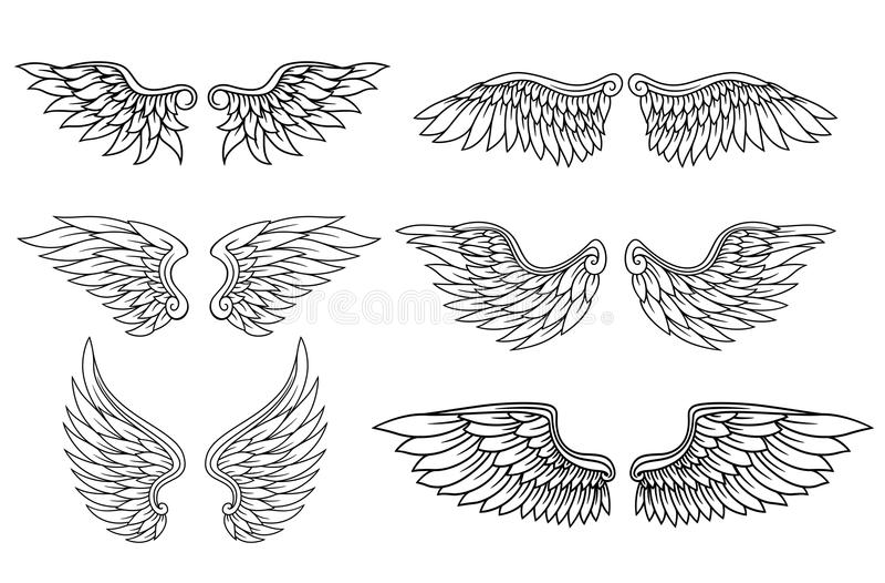 Uppsättning av örn- eller ängelvingar stock illustrationer