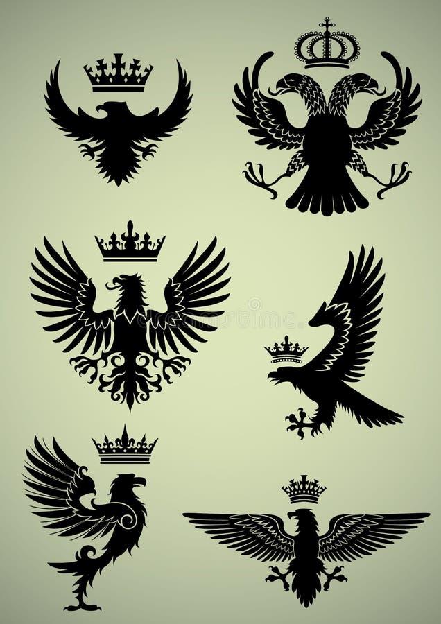 Uppsättning av örnen och kronan vektor illustrationer