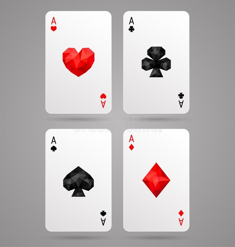 Uppsättning av överdängare som fyra spelar kortdräkter tabell för shotglass för poker för chipderringerlek royaltyfri illustrationer