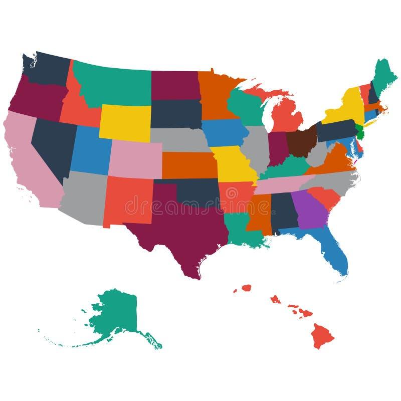 Uppsättning av översikter för USA-stat på en vit bakgrund royaltyfri illustrationer