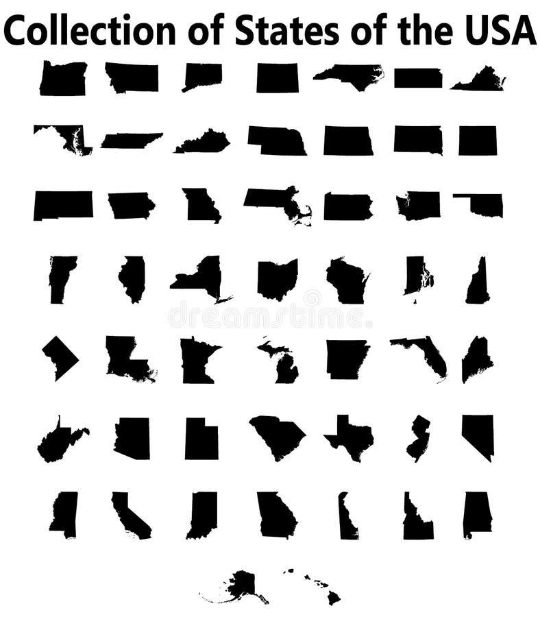 Uppsättning av översikter för USA-stater royaltyfri illustrationer