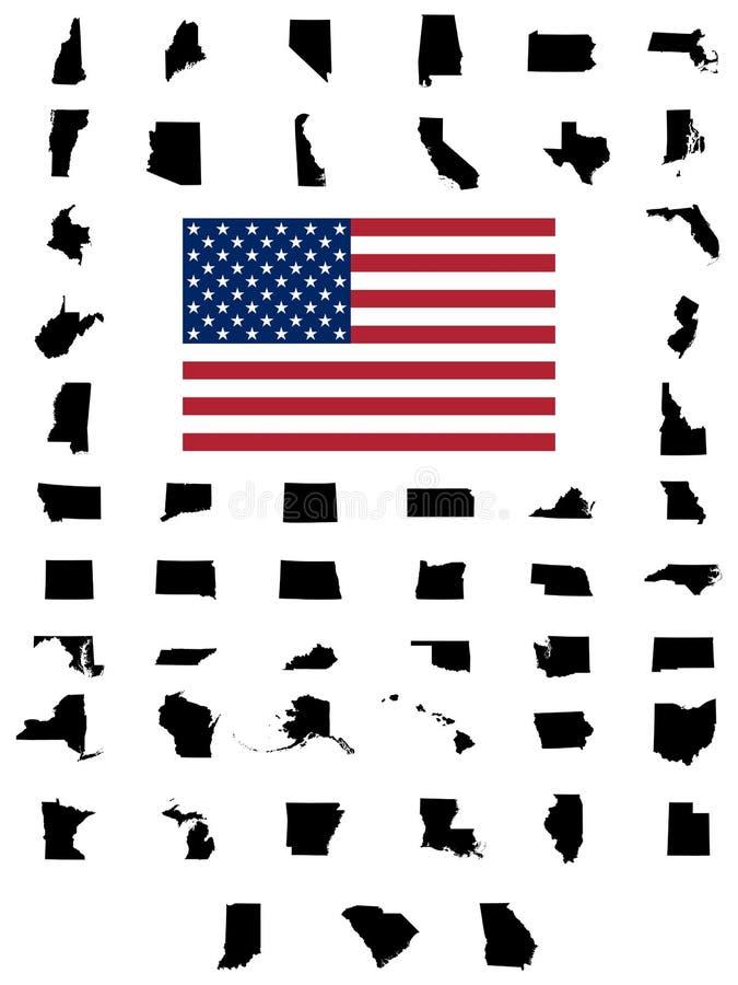 Uppsättning av översikter för USA-stater stock illustrationer