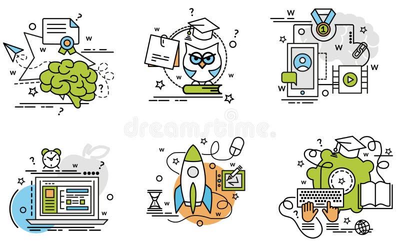 Uppsättning av översiktssymboler av E-att lära stock illustrationer