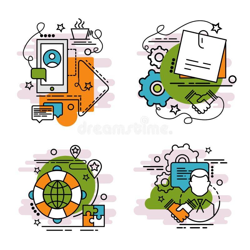 Uppsättning av översiktssymboler av partnerskap royaltyfri illustrationer