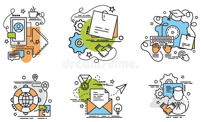 Uppsättning av översiktssymboler av partnerskap vektor illustrationer