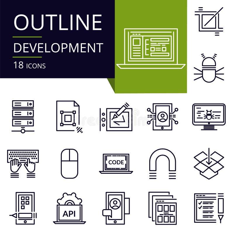 Uppsättning av översiktssymboler av utveckling vektor illustrationer